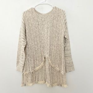 J Jill Medium Knit Pullover Sweater Fringe Raw Hem